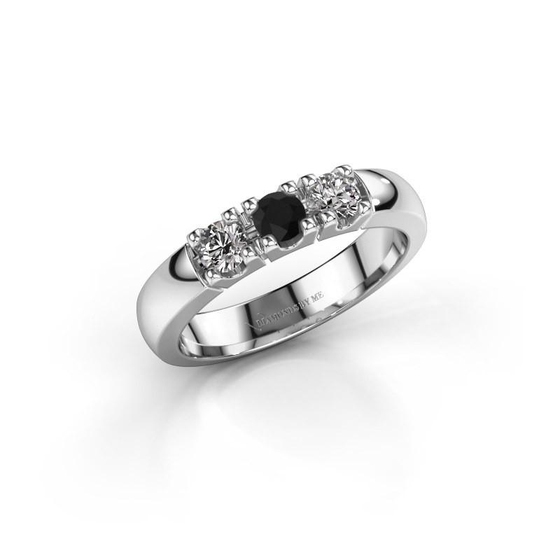 Engagement ring Rianne 3 925 silver black diamond 0.48 crt