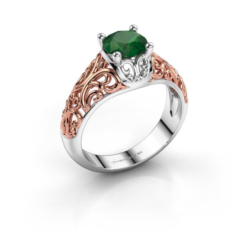 Ring Mirte 585 witgoud smaragd 6.5 mm