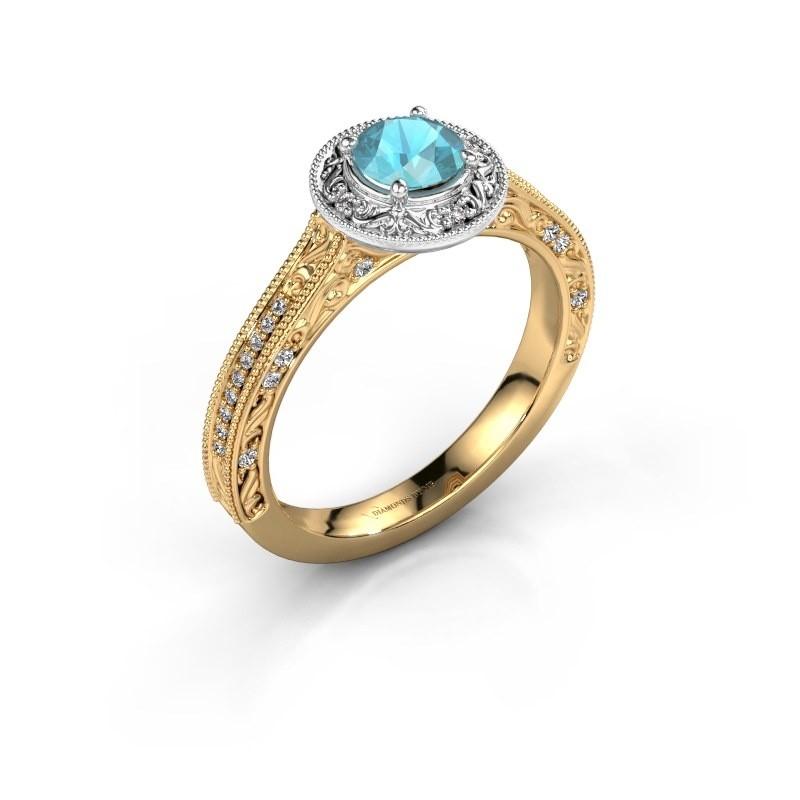 Verlovings ring Alice RND 585 goud blauw topaas 5 mm