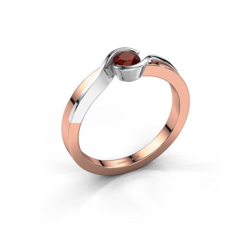 Ring Lola 585 Roségold Granat 4 mm