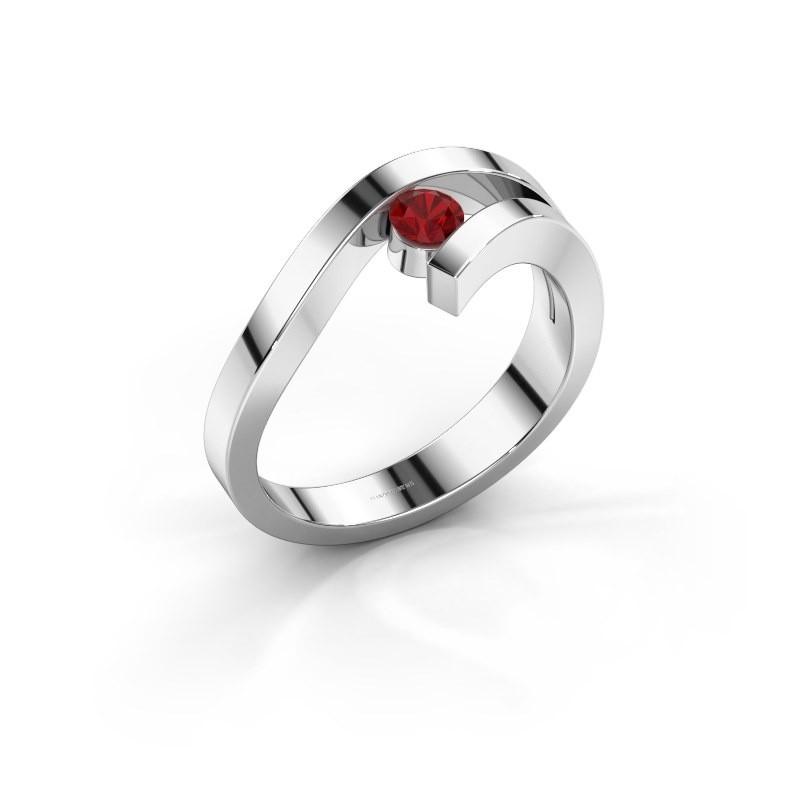 Ring Evalyn 1 585 witgoud robijn 3.7 mm