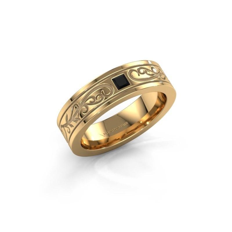 Men's ring Matijs 375 gold black diamond 0.204 crt