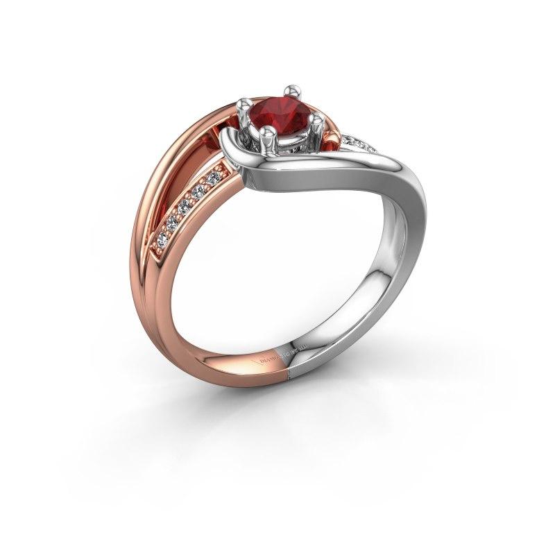Ring Aylin 585 rosé goud robijn 4 mm