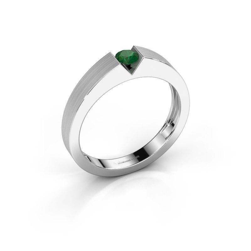 Verlovingsring Lizzy 1 925 zilver smaragd 3.7 mm