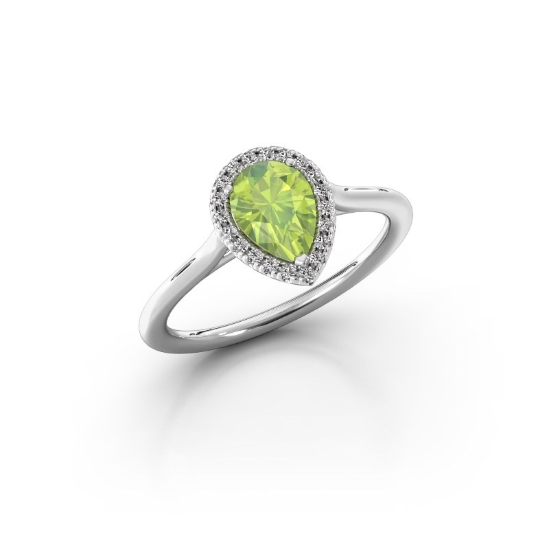 Engagement ring Monique 1 585 white gold peridot 7x5 mm