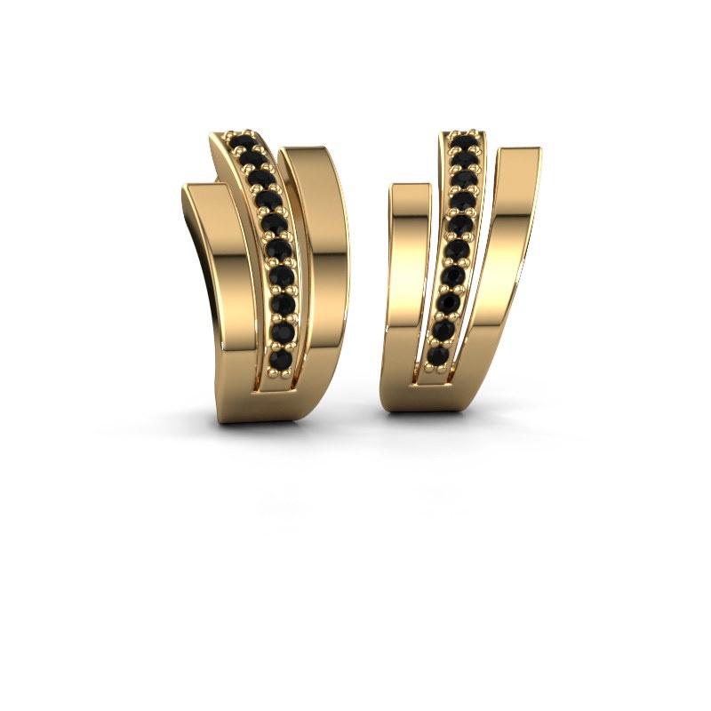 Oorbellen Emeline 585 goud zwarte diamant 0.24 crt