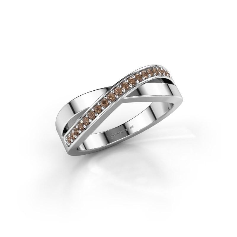 Ring Kaley 585 witgoud bruine diamant 0.143 crt