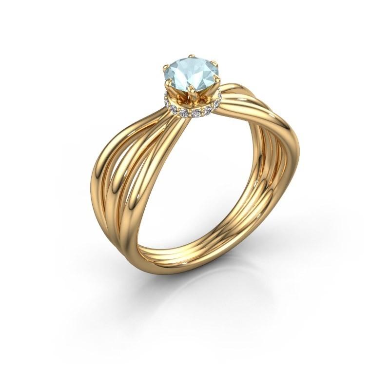 Verlovingsring Kimi 375 goud aquamarijn 5 mm