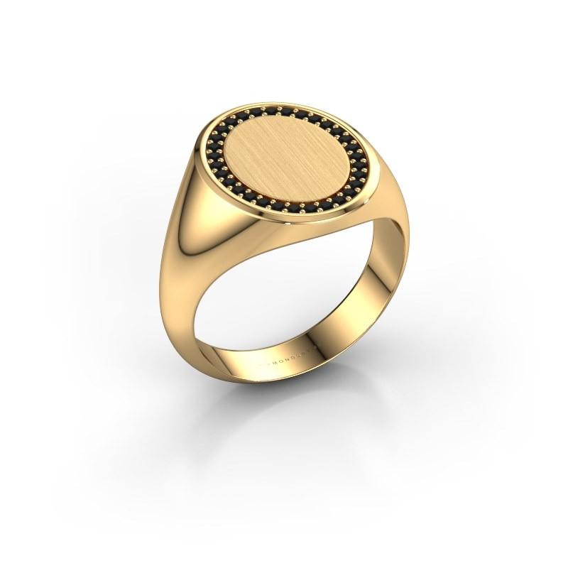 Heren ring Floris Oval 4 585 goud zwarte diamant 0.279 crt