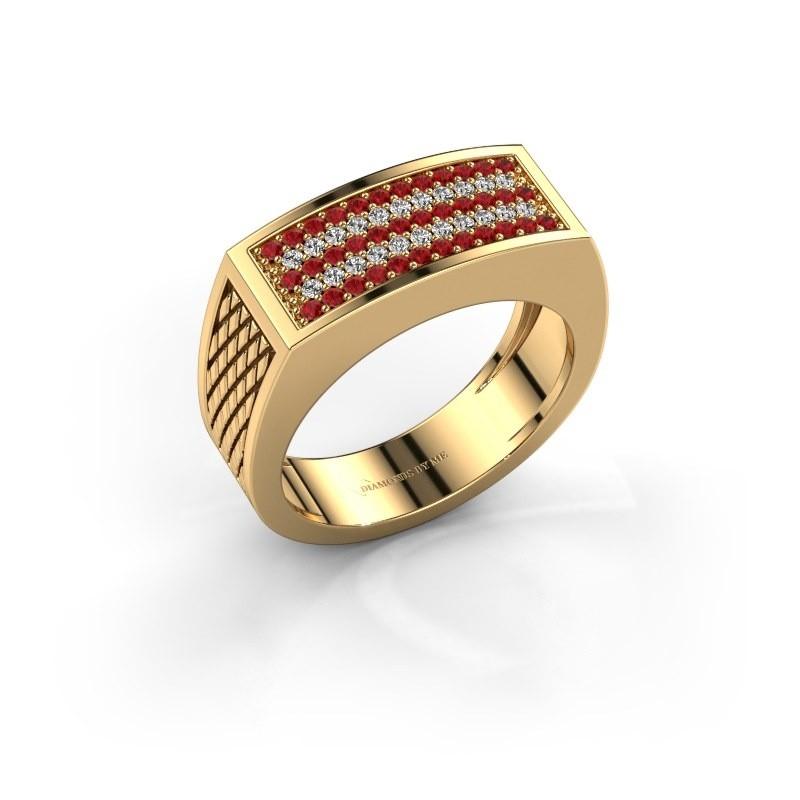 Heren ring Erwin 585 goud robijn 1.2 mm