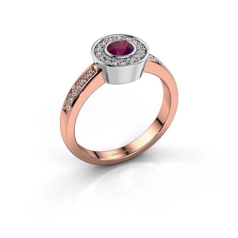 Ring Adriana 2 585 rose gold rhodolite 4 mm