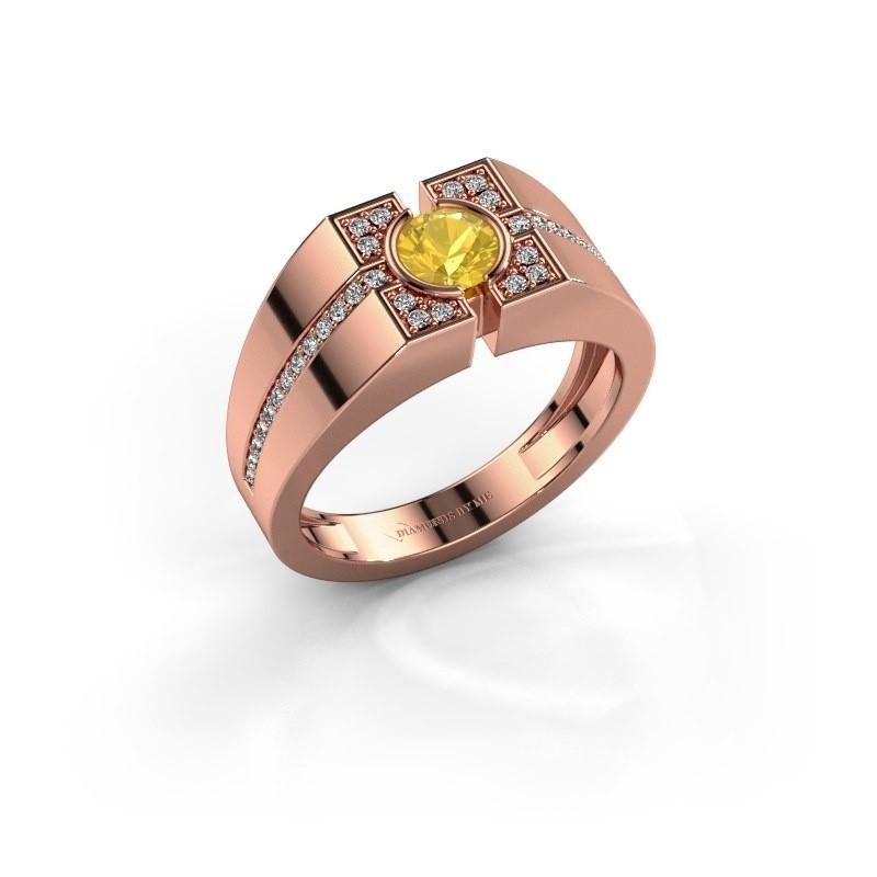 Men's ring Thijmen 375 rose gold yellow sapphire 5 mm