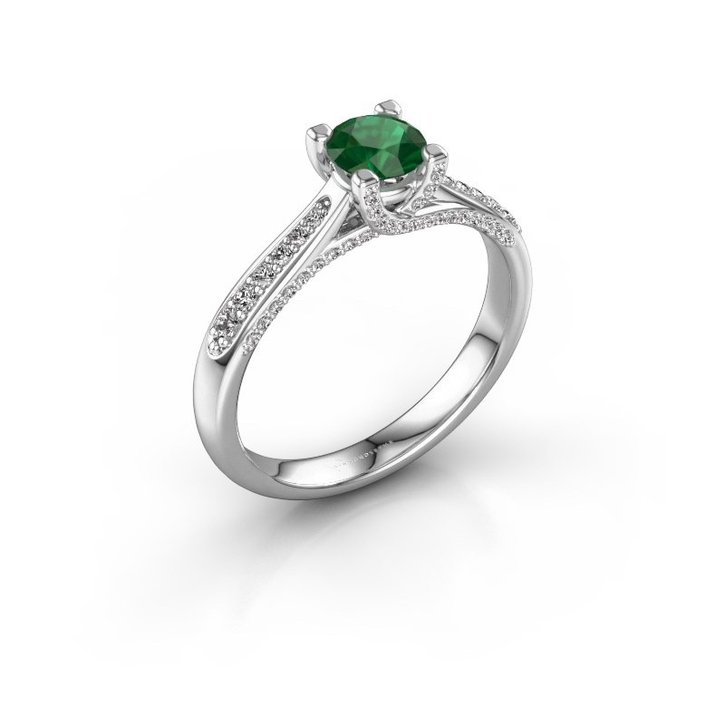 Verlovingsring Mia 3 950 platina smaragd 5 mm