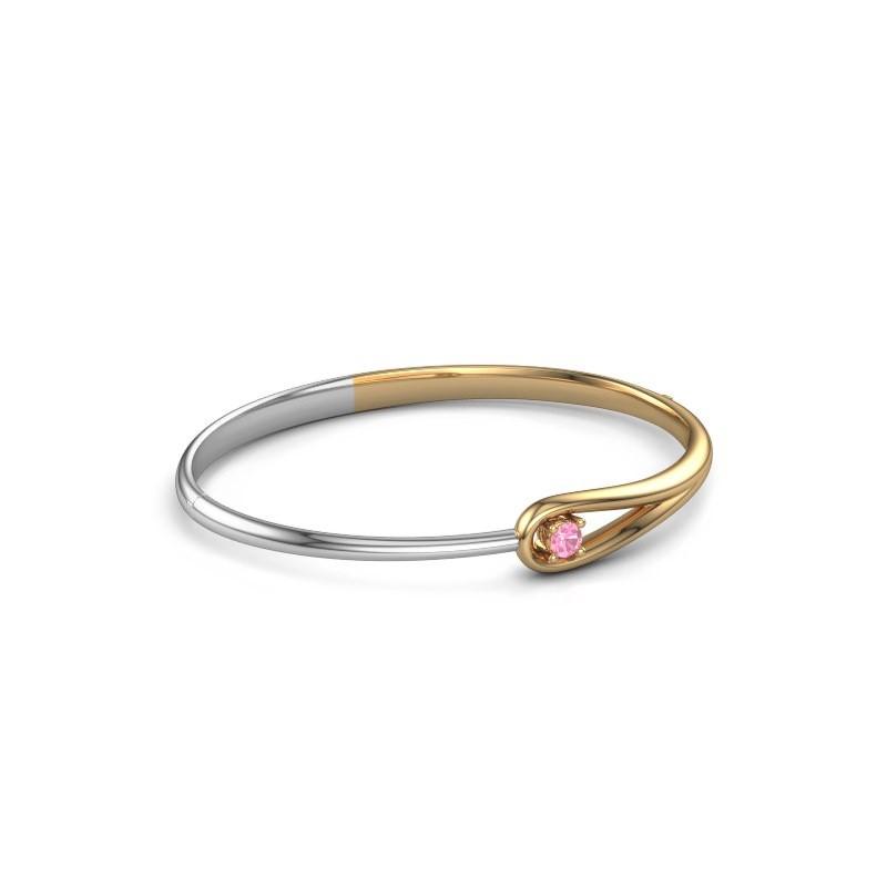 Slavenarmband Zara 585 goud roze saffier 4 mm