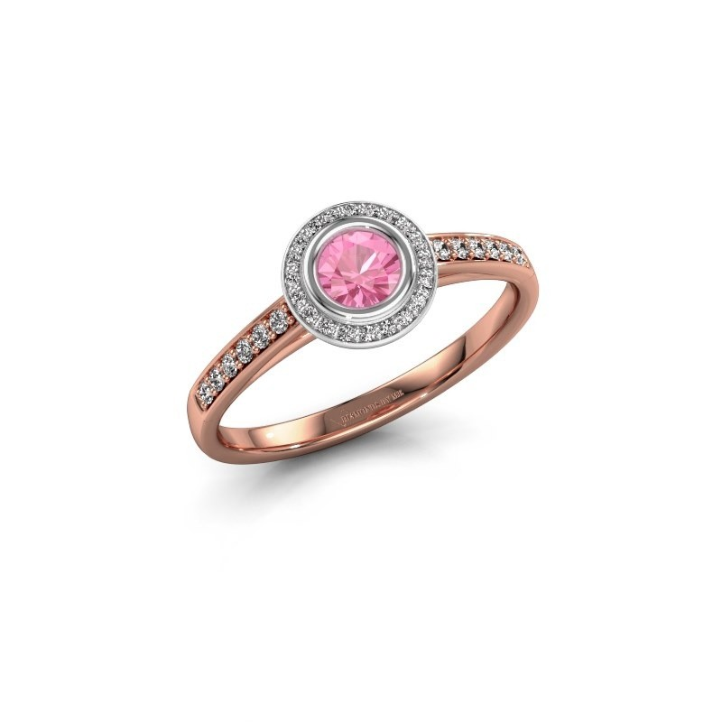 Verlovingsring Noud 2 RND 585 rosé goud roze saffier 4 mm
