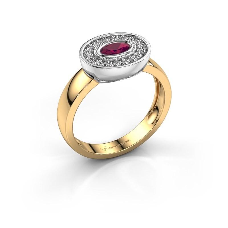 Ring Azra 585 gold rhodolite 5x3 mm