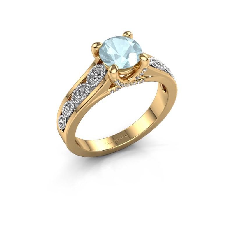 Engagement ring Clarine 585 gold aquamarine 6.5 mm