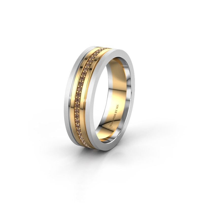 Wedding ring WH0404L16A 585 gold brown diamond ±0.24x0.07 in