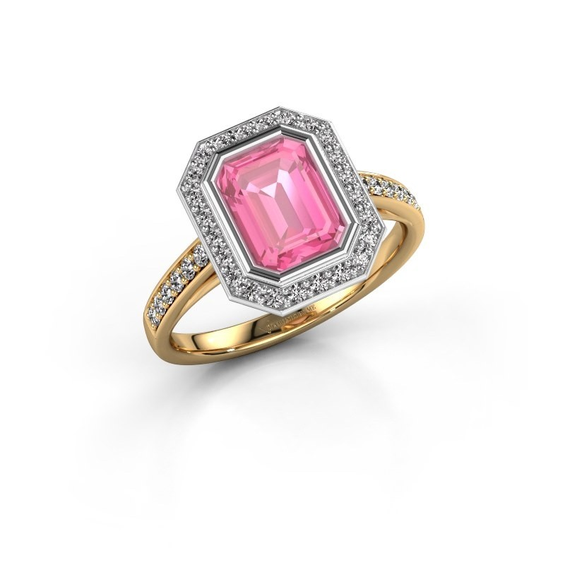 Verlovingsring Noud 2 EME 585 goud roze saffier 8x6 mm