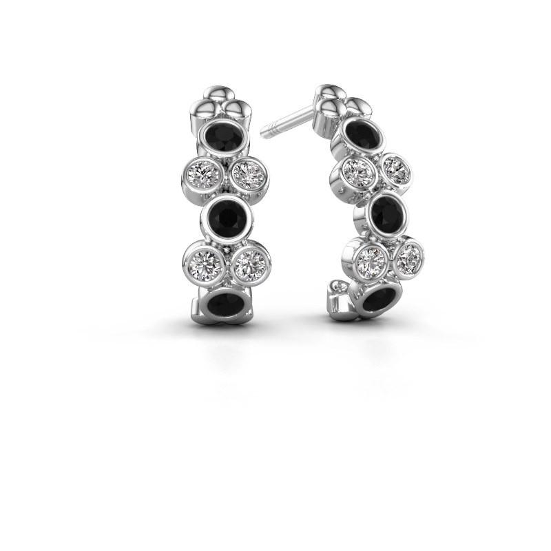 Oorbellen Kayleigh 925 zilver zwarte diamant 0.636 crt