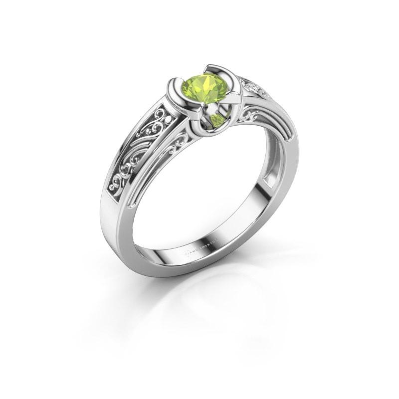 Ring Elena 585 white gold peridot 4 mm