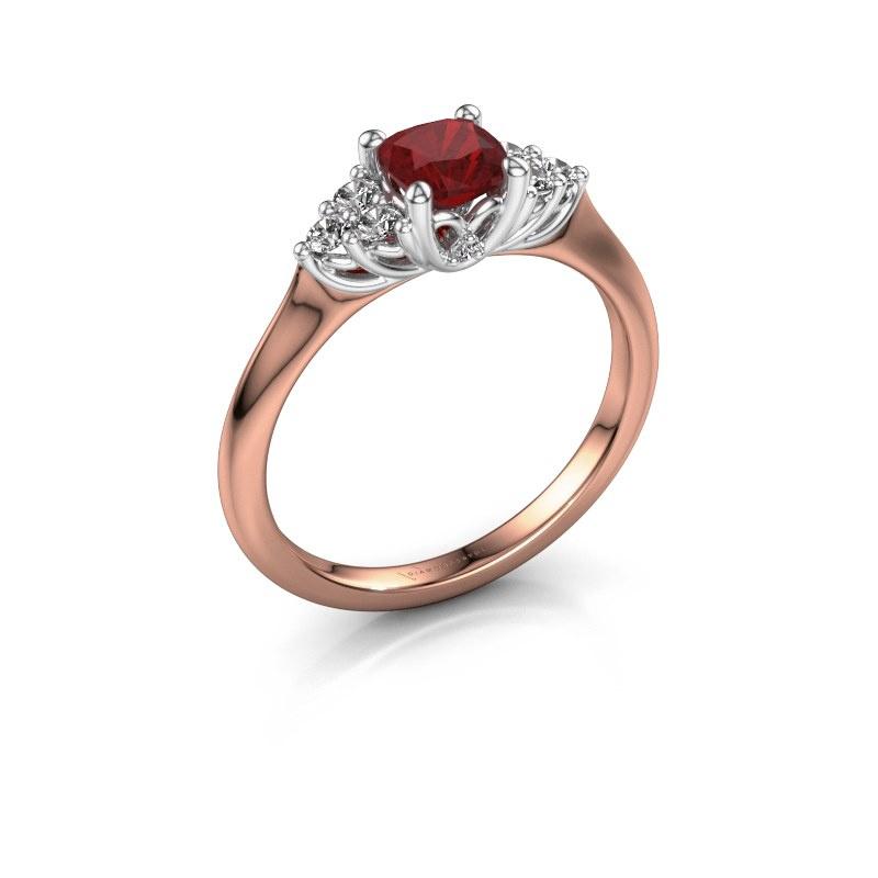 Verlovingsring Felipa CUS 585 rosé goud robijn 5 mm
