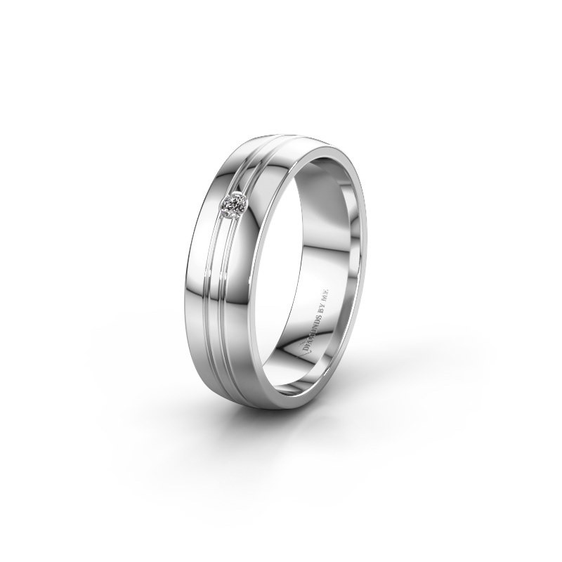 Trouwring WH0420L25X 585 witgoud diamant ±5x1.5 mm