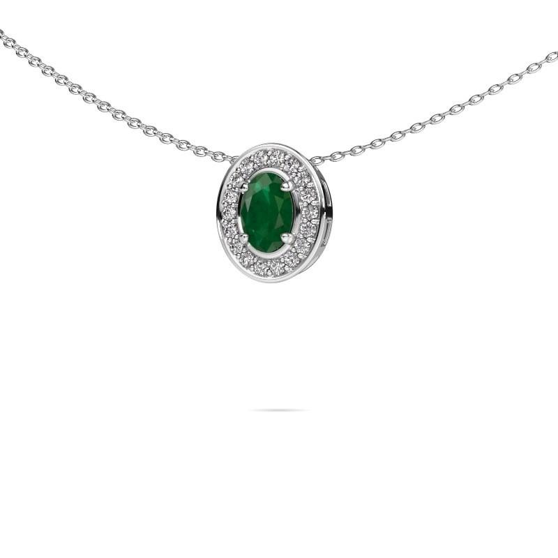 Ketting Madelon 925 zilver smaragd 6x4 mm