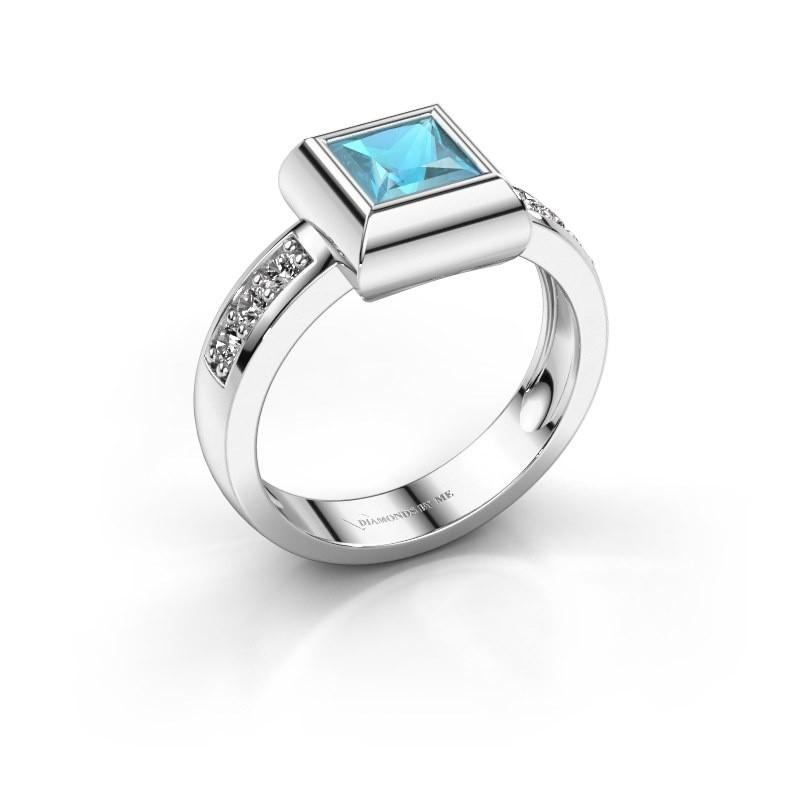 Ring Charlotte Square 925 Silber Blau Topas 5 mm