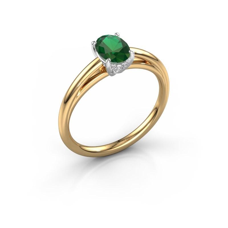 Verlovingsring Haley OVL 1 585 goud smaragd 7x5 mm