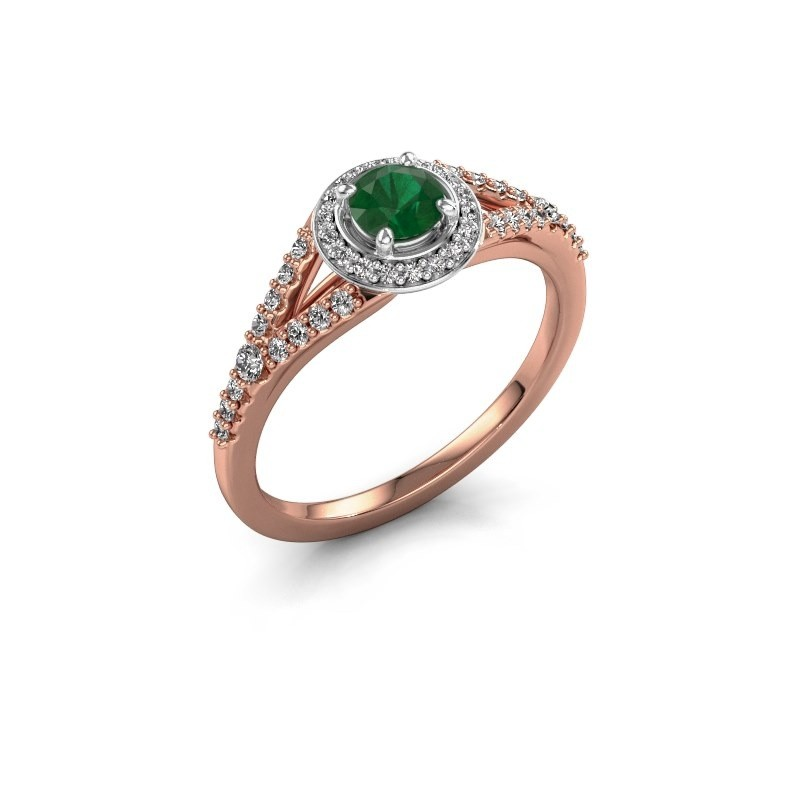 Verlovingsring Pamela RND 585 rosé goud smaragd 4 mm