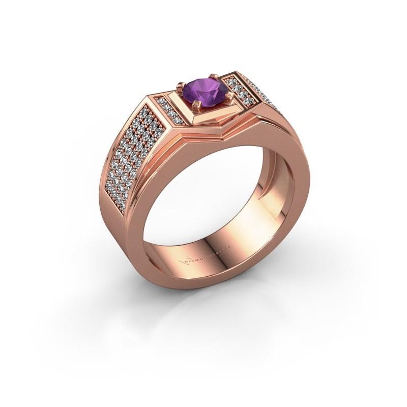 Men's ring Marcel 375 rose gold amethyst 5 mm