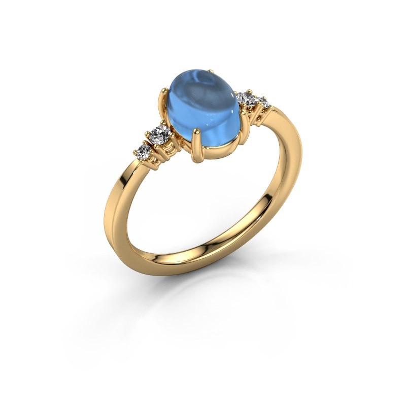 Ring Jelke 585 gold blue topaz 8x6 mm