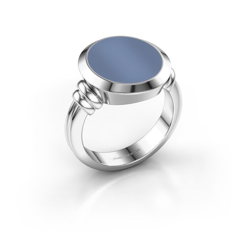 Zegelring Jake 4 950 platina licht blauwe lagensteen 15x13 mm