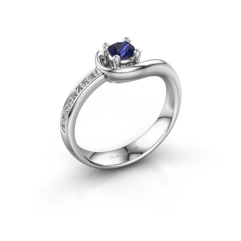Ring Ceylin 925 zilver saffier 4 mm