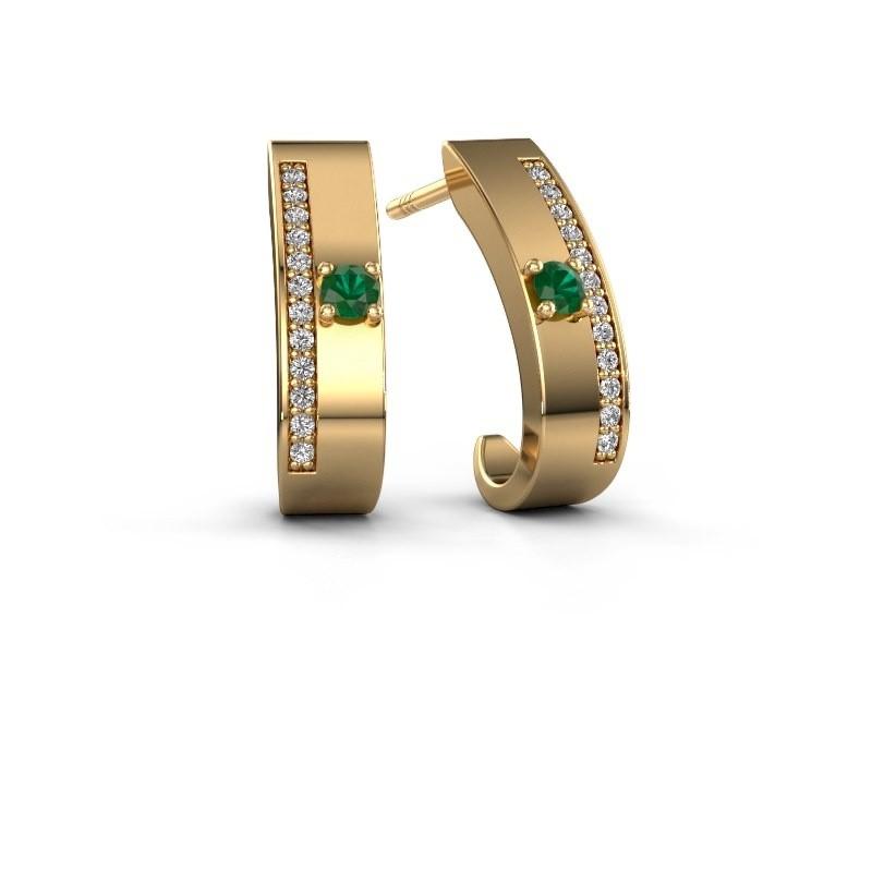 Oorbellen Vick1 375 goud smaragd 2.4 mm