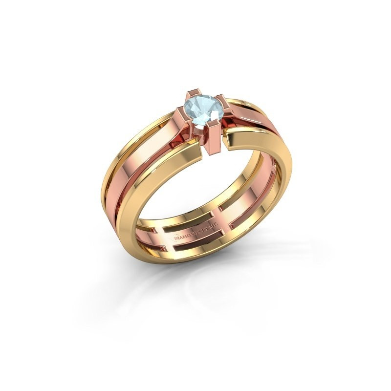 Heren ring Sem 585 rosé goud aquamarijn 4.7 mm