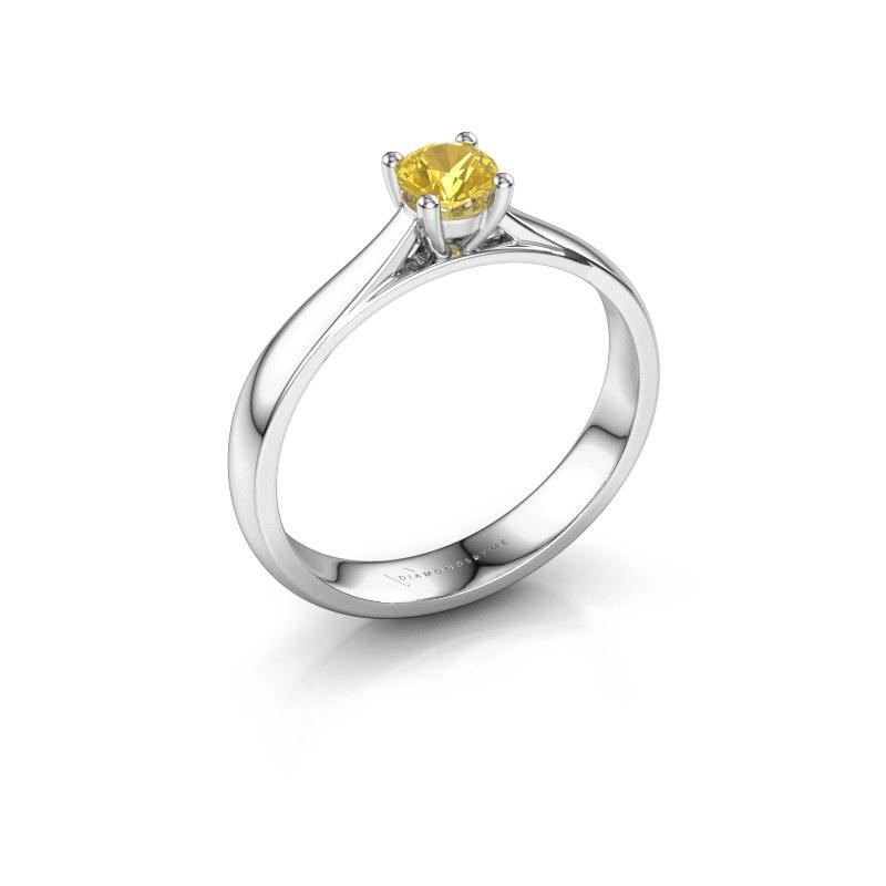 Engagement ring Sam 950 platinum yellow sapphire 4.2 mm