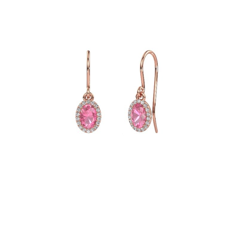 Oorhangers Seline ovl 375 rosé goud roze saffier 6x4 mm