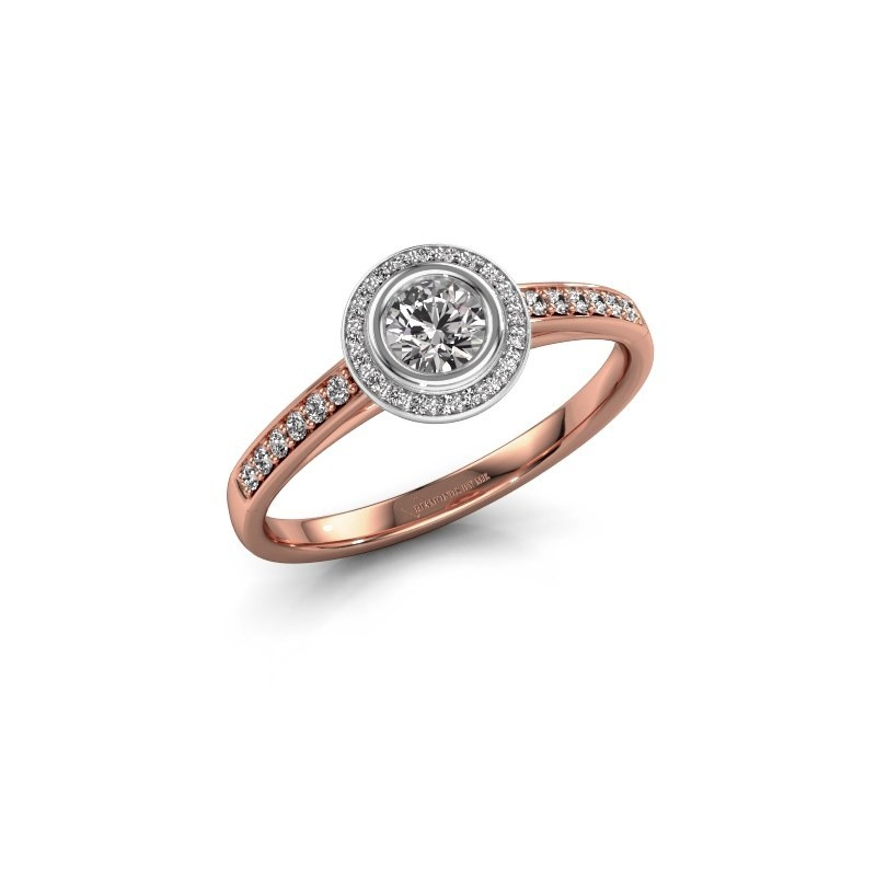 Engagement ring Noud 2 RND 585 rose gold lab-grown diamond 0.39 crt