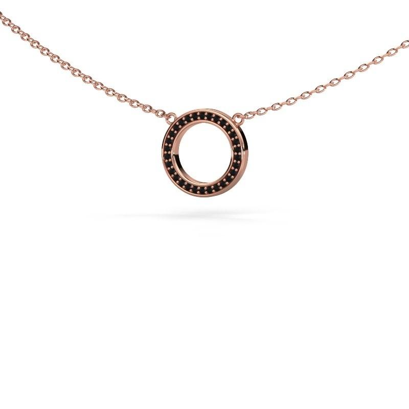 Hanger Round 1 375 rosé goud zwarte diamant 0.09 crt
