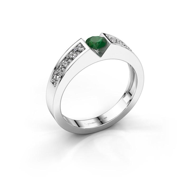 Verlovingsring Lizzy 2 585 witgoud smaragd 4.2 mm