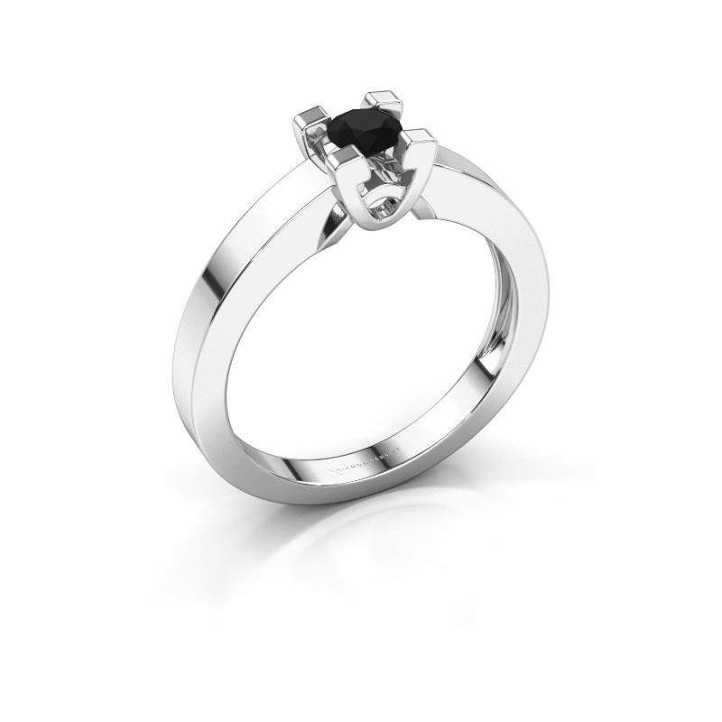 Verlovingsring Nina 1 585 witgoud zwarte diamant 0.24 crt