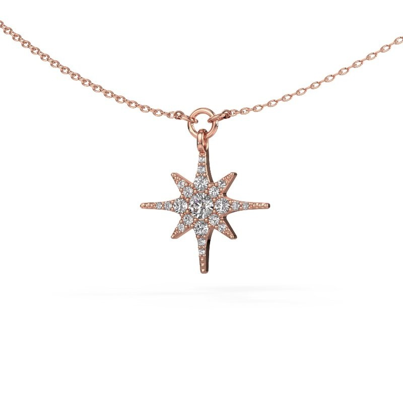 Halsketting Star 375 rosé goud lab-grown diamant 0.29 crt