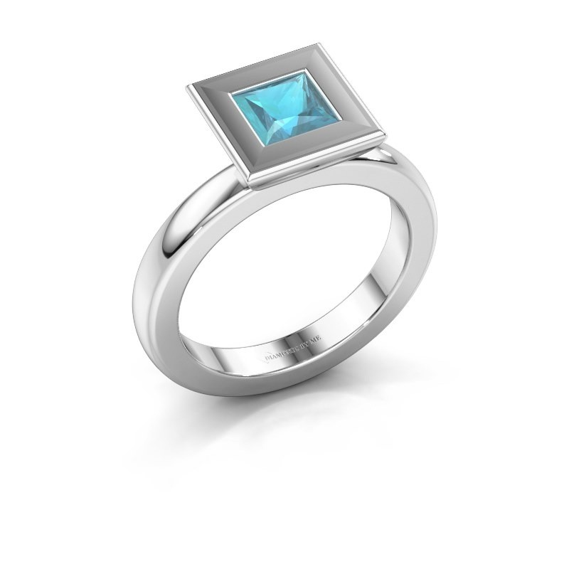 Stapelring Eloise Square 925 zilver blauw topaas 5 mm
