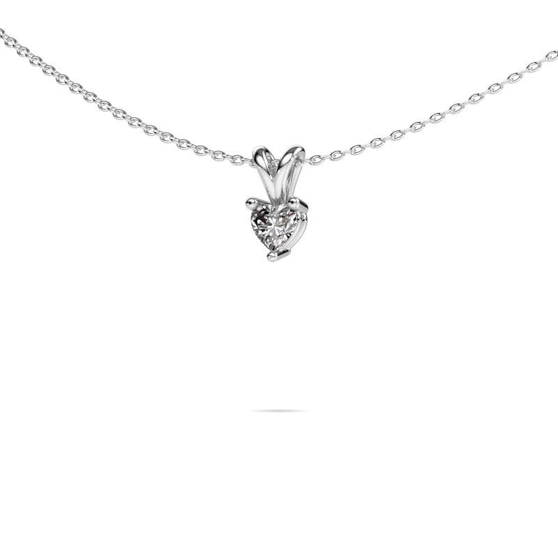 Necklace Garnet 375 white gold lab-grown diamond 0.25 crt