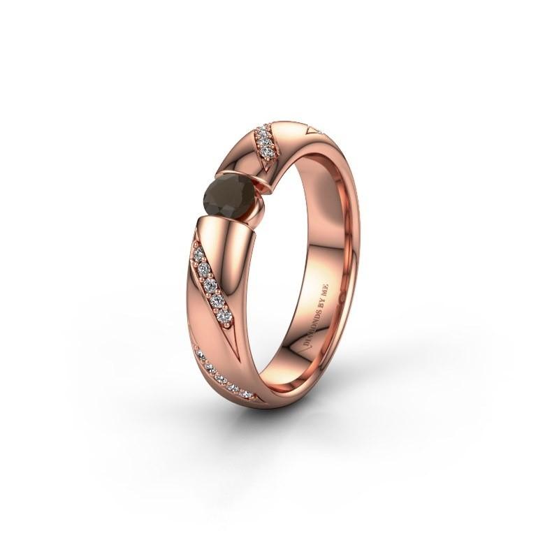 Trouwring WH2102L34A 375 rosé goud rookkwarts ±5x1.7 mm