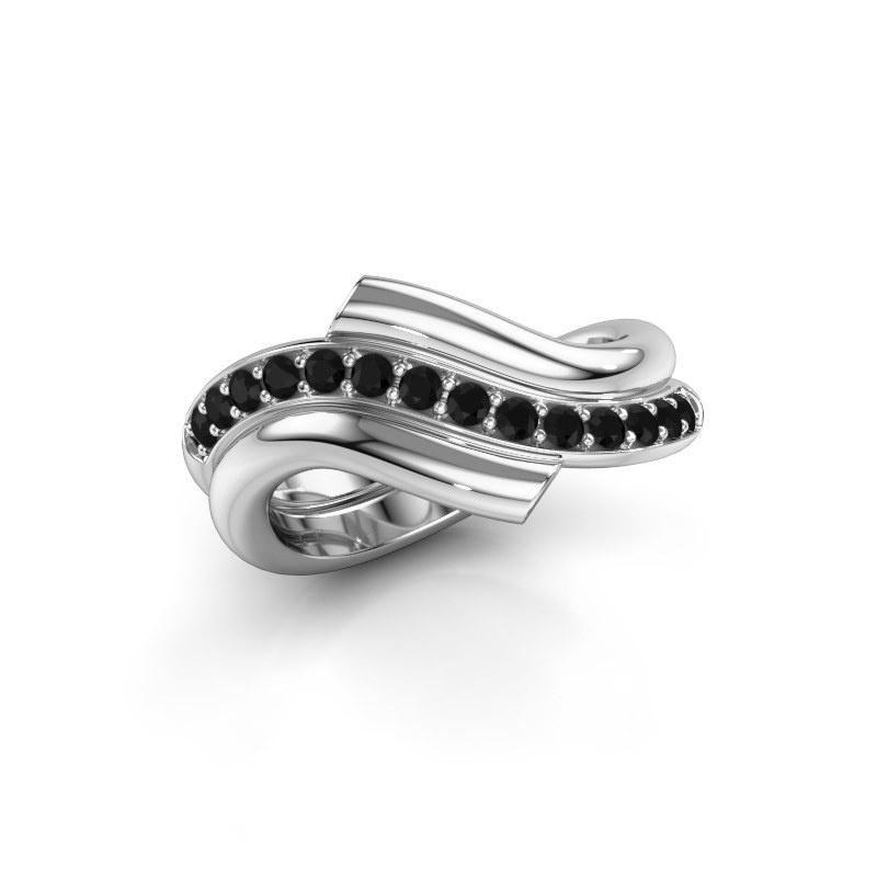 Ring Guusje 925 silver black diamond 0.42 crt