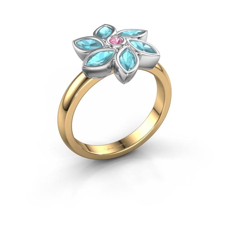 Ring Amina 585 goud roze saffier 2 mm