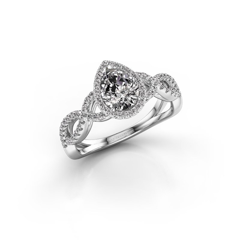 Verlovingsring Dionne pear 950 platina lab-grown diamant 0.99 crt